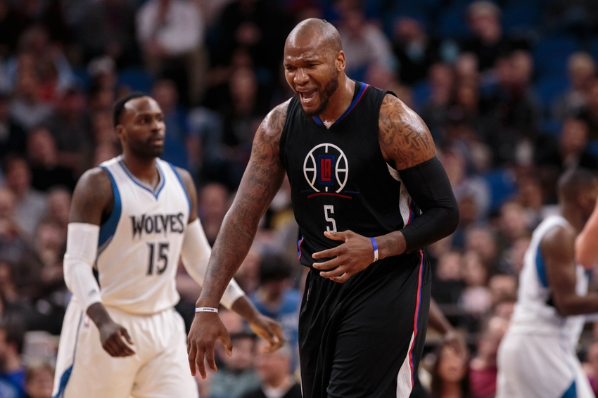 Nov 12, 2016; Minneapolis, MN, USA; Los Angeles Clippers center Marreese Speights (5) celebrates his basket in the fourth quarter against the Minnesota Timberwolves at Target Center. The Los Angeles Clippers beat the Minnesota Timberwolves 119-105. Mandatory Credit: Brad Rempel-USA TODAY Sports