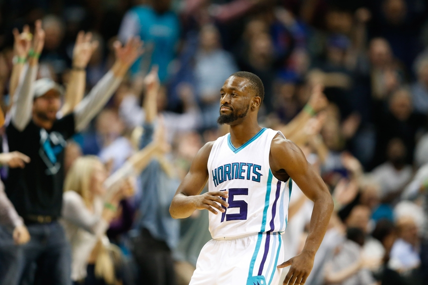 Nov 18, 2016; Charlotte, NC, USA; Charlotte Hornets guard Kemba Walker (15) reacts after hitting a three point shot in the second half against the Atlanta Hawks at Spectrum Center. The Hornets defeated the Hawks 100-96. Mandatory Credit: Jeremy Brevard-USA TODAY Sports