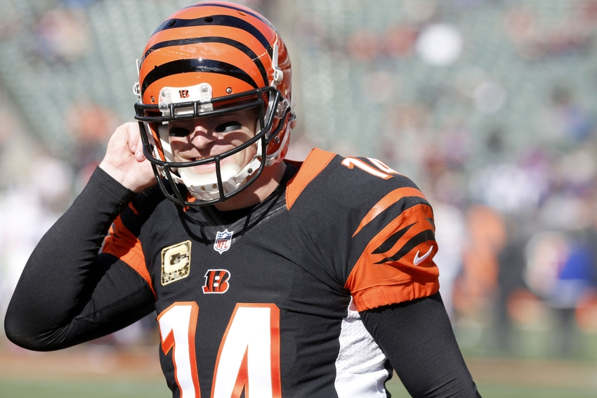 Nov 20, 2016; Cincinnati, OH, USA; Cincinnati Bengals quarterback Andy Dalton walks off the field after warming up at the beginning of a game with the Buffalo Bills at Paul Brown Stadium. Mandatory Credit: David Kohl-USA TODAY Sports