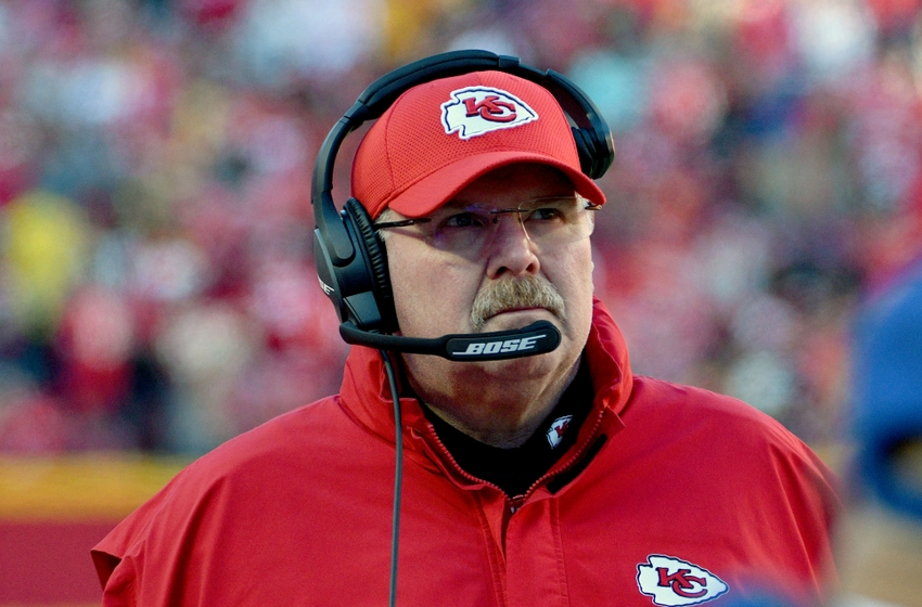 Nov 20, 2016; Kansas City, MO, USA; Kansas City Chiefs head coach Andy Reid watches play on the sidelines during the second half against the Tampa Bay Buccaneers at Arrowhead Stadium. Tampa Bay won 19-17. Mandatory Credit: Denny Medley-USA TODAY Sports