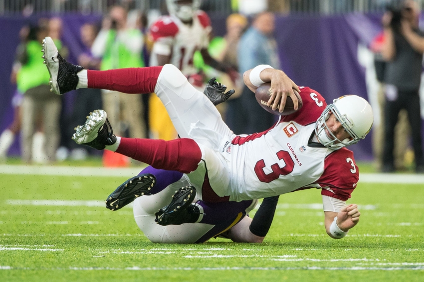 Nov 20, 2016; Minneapolis, MN, USA; Arizona Cardinals quarterback Carson Palmer (3) is sacked by Minnesota Vikings defensive end Brian Robison (96) during the third quarter at U.S. Bank Stadium. The Vikings defeated the Cardinals 30-24. Mandatory Credit: Brace Hemmelgarn-USA TODAY Sports