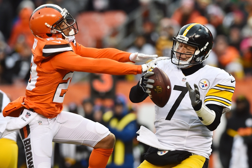 Nov 20, 2016; Cleveland, OH, USA; Cleveland Browns cornerback Joe Haden (23) gets a hand on Pittsburgh Steelers quarterback Ben Roethlisberger (7) during the second half at FirstEnergy Stadium. The Steelers won 24-9. Mandatory Credit: Ken Blaze-USA TODAY Sports