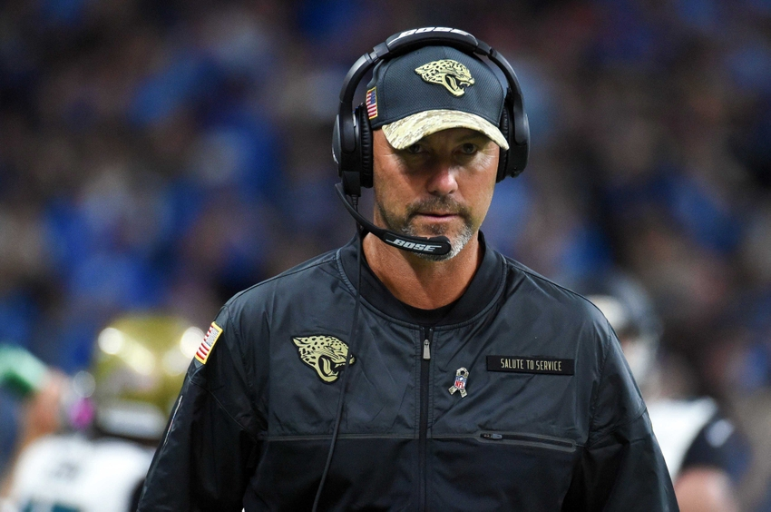 Nov 20, 2016; Detroit, MI, USA; Jacksonville Jaguars head coach Gus Bradley second half against the Detroit Lions at Ford Field. Mandatory Credit: Tim Fuller-USA TODAY Sports