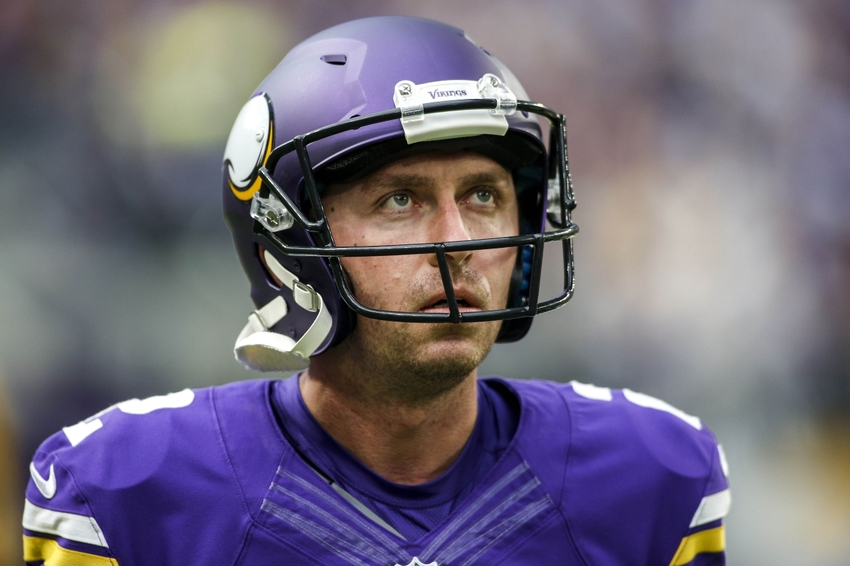 Nov 20, 2016; Minneapolis, MN, USA; New Minnesota Vikings kicker Kai Forbath (2) looks to the scoreboard during the game with the Arizona Cardinals at U.S. Bank Stadium. Mandatory Credit: Bruce Kluckhohn-USA TODAY Sports