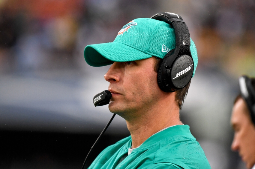 Nov 20, 2016; Los Angeles, CA, USA; Miami Dolphins head coach Adam Gase during the second half of a NFL football game against the Los Angeles Rams at Los Angeles Memorial Coliseum. Mandatory Credit: Kirby Lee-USA TODAY Sports
