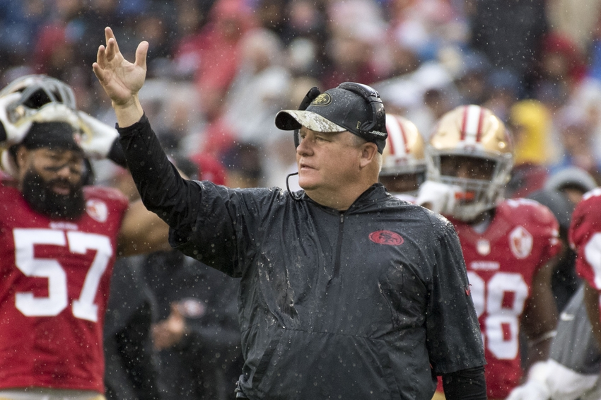 November 20, 2016; Santa Clara, CA, USA; San Francisco 49ers head coach Chip Kelly instructs during the first quarter against the New England Patriots at Levi