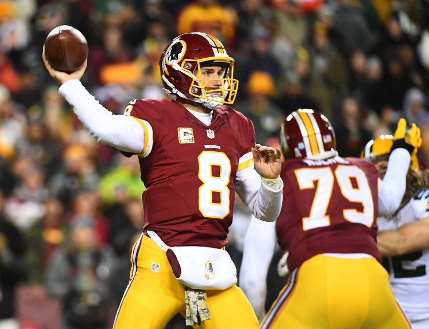 Nov 20, 2016; Landover, MD, USA; Washington Redskins quarterback Kirk Cousins (8) attempts a pass against the Green Bay Packers during the first half at FedEx Field. Mandatory Credit: Brad Mills-USA TODAY Sports