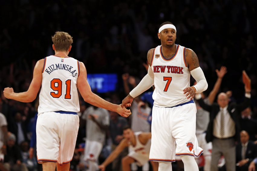 New York Knicks forward Carmelo Anthony (7) is in my FanDuel daily picks tonight. Mandatory Credit: Adam Hunger-USA TODAY Sports