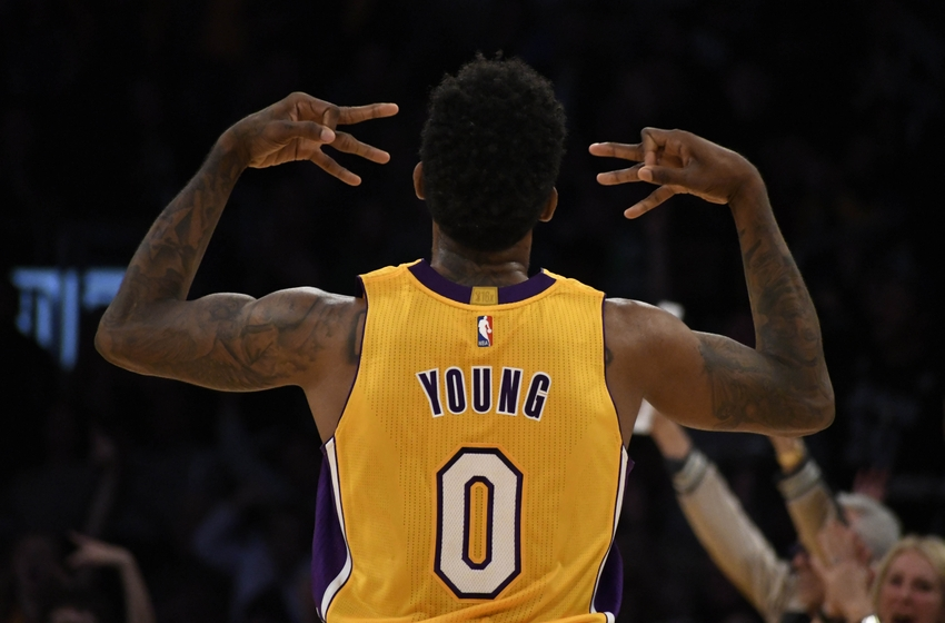 Nov 22, 2016; Los Angeles, CA, USA; Los Angeles Lakers guard Nick Young (0) celebrates after a play during the first quarter against the Oklahoma City Thunder at Staples Center. Mandatory Credit: Richard Mackson-USA TODAY Sports