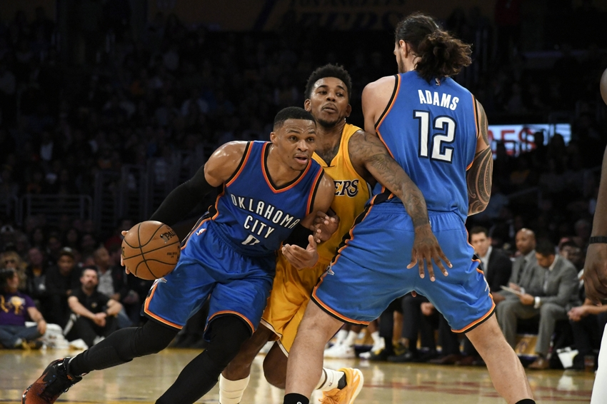 Oklahoma City Thunder guard Russell Westbrook (0) is in my FanDuel daily picks for today. Mandatory Credit: Richard Mackson-USA TODAY Sports