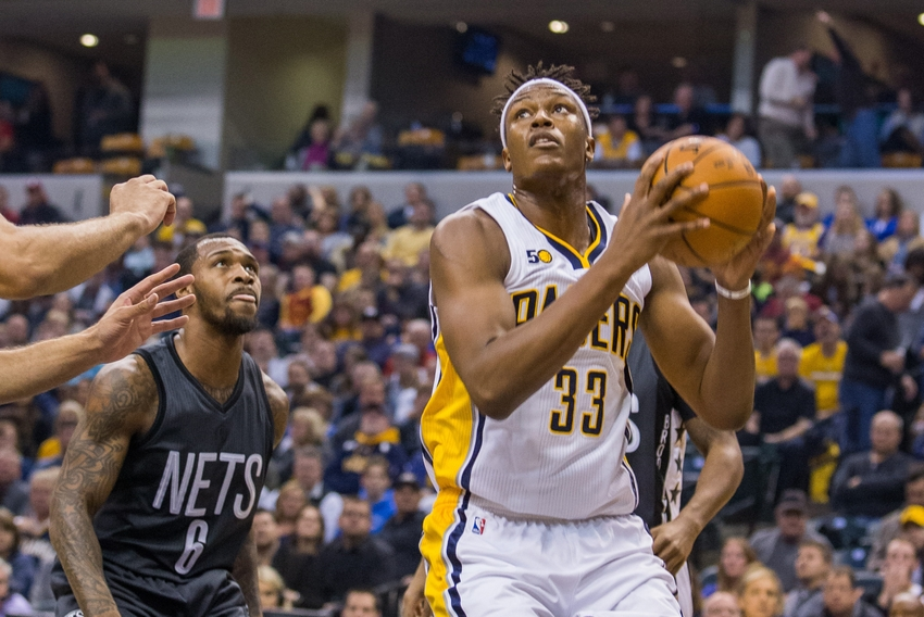 Nov 25, 2016; Indianapolis, IN, USA; Indiana Pacers center Myles Turner (33) shoots the ball while Brooklyn Nets guard Sean Kilpatrick (6) defends in the first half of the game at Bankers Life Fieldhouse. Mandatory Credit: Trevor Ruszkowski-USA TODAY Sports