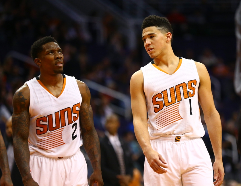 Phoenix Suns guard Eric Bledsoe (left) is in my FanDuel daily picks. Mandatory Credit: Mark J. Rebilas-USA TODAY Sports