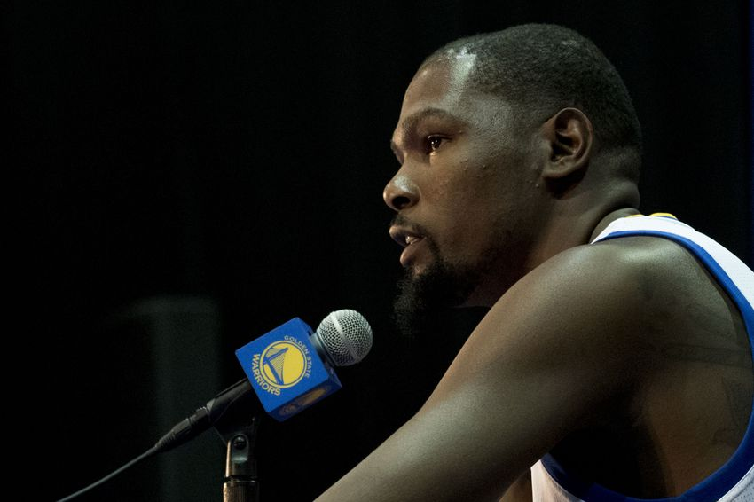 September 26, 2016; Oakland, CA, USA; Golden State Warriors forward Kevin Durant (35) addresses the media in a press conference during media day at the Warriors Practice Facility. Mandatory Credit: Kyle Terada-USA TODAY Sports