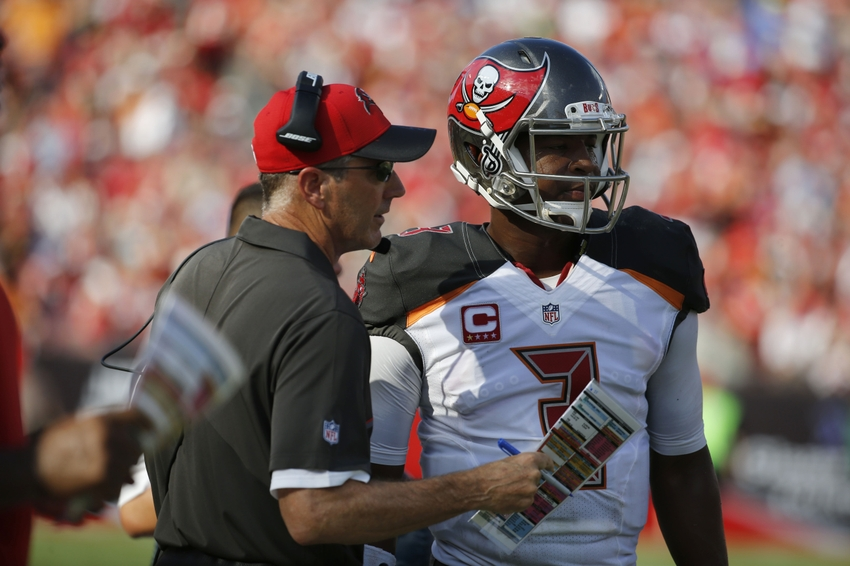 Oct 2, 2016; Tampa, FL, USA; Tampa Bay Buccaneers quarterback Jameis Winston (3) talks with head coach Dirk Koetter against the Denver Broncos during the first half at Raymond James Stadium. Mandatory Credit: Kim Klement-USA TODAY Sports