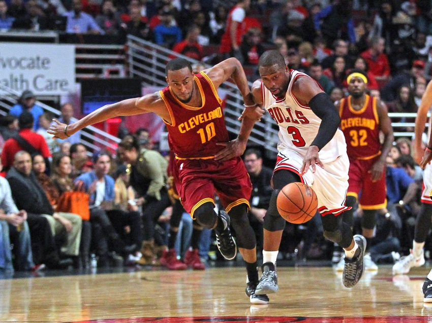 Oct 14, 2016; Chicago, IL, USA; Chicago Bulls guard Dwyane Wade (3) steals the ball from Cleveland Cavaliers guard Markel Brown (10) during the first half at the United Center. Mandatory Credit: Dennis Wierzbicki-USA TODAY Sports