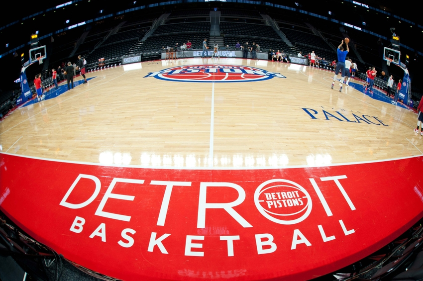 Nov 23, 2016; Auburn Hills, MI, USA; A general view of basketball court sideline before the game between the Detroit Pistons and the Miami Heat at The Palace of Auburn Hills. Mandatory Credit: Tim Fuller-USA TODAY Sports