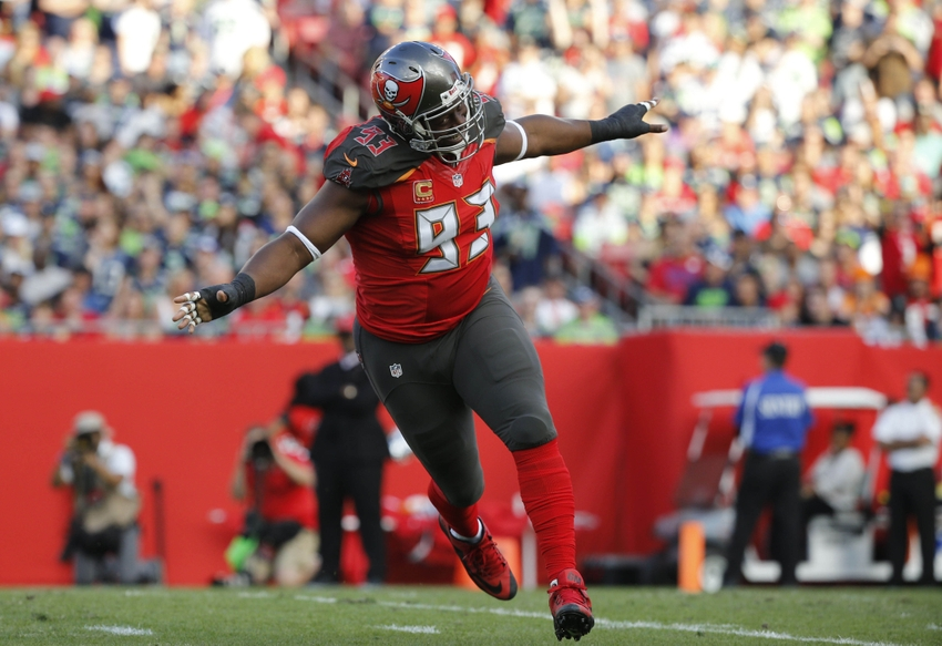 Nov 27, 2016; Tampa, FL, USA;Tampa Bay Buccaneers defensive tackle Gerald McCoy (93) celebrates after they sacked Seattle Seahawks quarterback Russell Wilson (3) (not pictured) during the first quarter at Raymond James Stadium. Mandatory Credit: Kim Klement-USA TODAY Sports