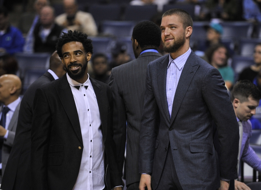 Dec 1, 2016; Memphis, TN, USA; Memphis Grizzlies guard Mike Conley (left) and forward Chandler Parsons (right) before the game against the Orlando Magic at FedExForum. Mandatory Credit: Justin Ford-USA TODAY Sports