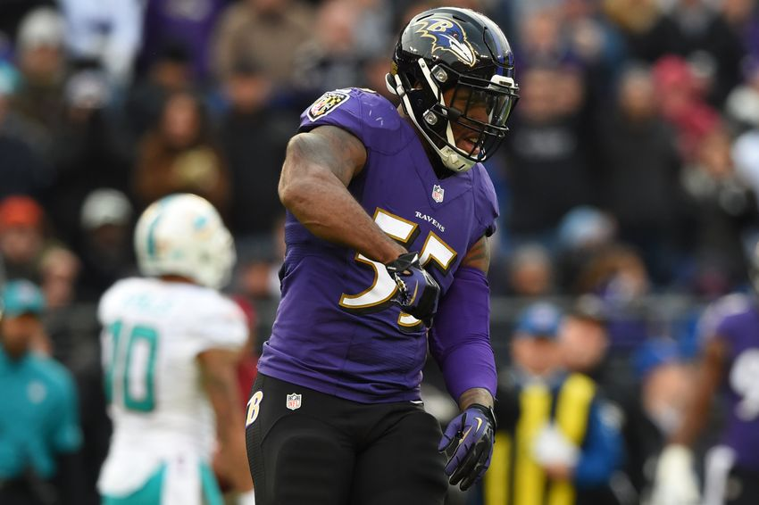 Dec 4, 2016; Baltimore, MD, USA; Baltimore Ravens outside linebacker Terrell Suggs (55) reacts after a play during the second half against the Miami Dolphins at M&T Bank Stadium. Baltimore Ravens defeated Miami Dolphins 38-6. Mandatory Credit: Tommy Gilligan-USA TODAY Sports