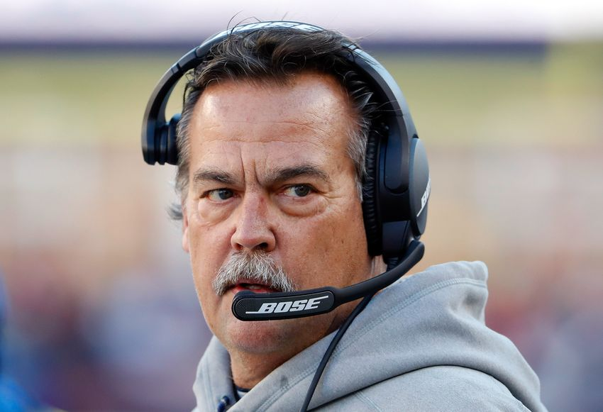 Dec 4, 2016; Foxborough, MA, USA; Los Angeles Rams head coach Jeff Fisher during the first half against the New England Patriots at Gillette Stadium. Mandatory Credit: Winslow Townson-USA TODAY Sports