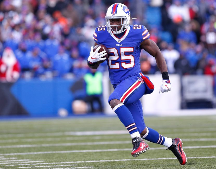 Dec 18, 2016; Orchard Park, NY, USA; Buffalo Bills running back LeSean McCoy (25) runs with the ball during the second half against the Cleveland Browns at New Era Field. Bills beat the Browns 33-13. Mandatory Credit: Kevin Hoffman-USA TODAY Sports