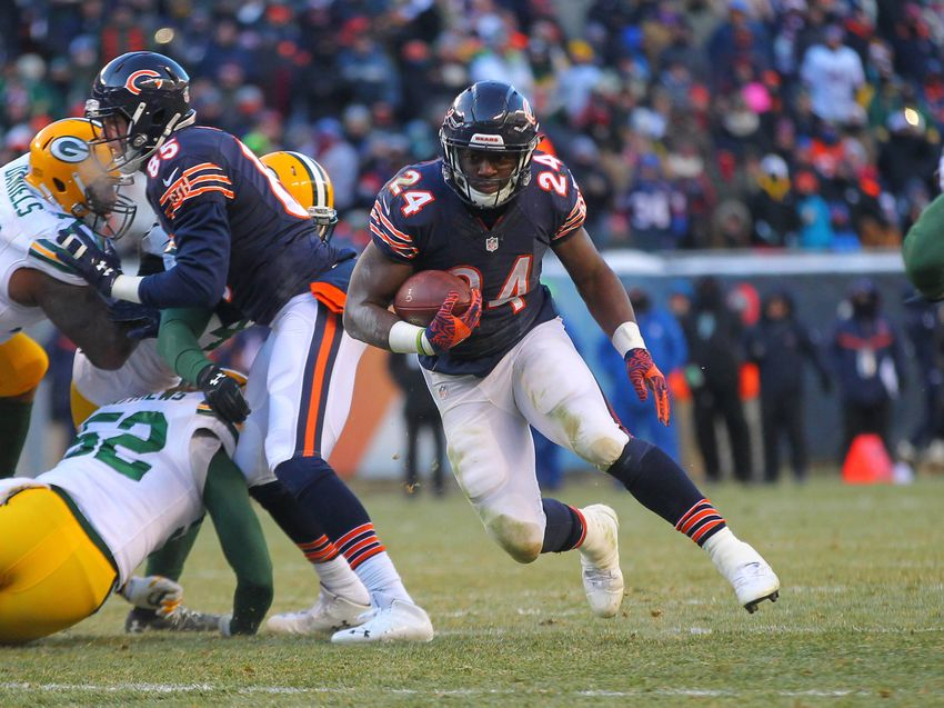 Dec 18, 2016; Chicago, IL, USA; Chicago Bears running back Jordan Howard (24) with the ball during the second half against the Green Bay Packers at Soldier Field. Green Bay won 30-27. Mandatory Credit: Dennis Wierzbicki-USA TODAY Sports
