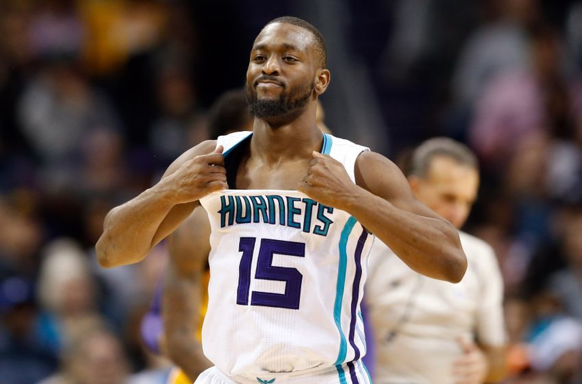 Dec 20, 2016; Charlotte, NC, USA; Charlotte Hornets guard Kemba Walker (15) reacts to a foul call in the second half against the Los Angeles Lakers at Spectrum Center. The Hornets defeated the Lakers 117-113. Mandatory Credit: Jeremy Brevard-USA TODAY Sports