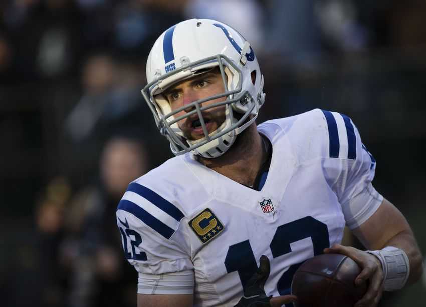 Dec 24, 2016; Oakland, CA, USA; Indianapolis Colts quarterback Andrew Luck (12) after scoring a touchdown against the Oakland Raiders during the fourth quarter at the Oakland Coliseum. The Oakland Raiders defeated the Indianapolis Colts 33-25. Mandatory Credit: Kelley L Cox-USA TODAY Sports