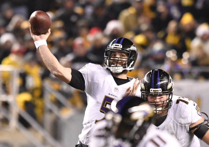 Dec 25, 2016; Pittsburgh, PA, USA; Baltimore Ravens quarterback Joe Flacco (5) throws a pass from the pocket during the fourth quarter of a game against the Pittsburgh Steelers at Heinz Field. Pittsburgh won the game 31-27. Mandatory Credit: Mark Konezny-USA TODAY Sports