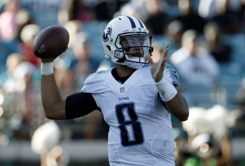 Dec 24, 2016; Jacksonville, FL, USA; Tennessee Titans quarterback Marcus Mariota (8) throws a pass during the third quarter of an NFL Football game against the Jacksonville Jaguars at EverBank Field. Mandatory Credit: Reinhold Matay-USA TODAY Sports