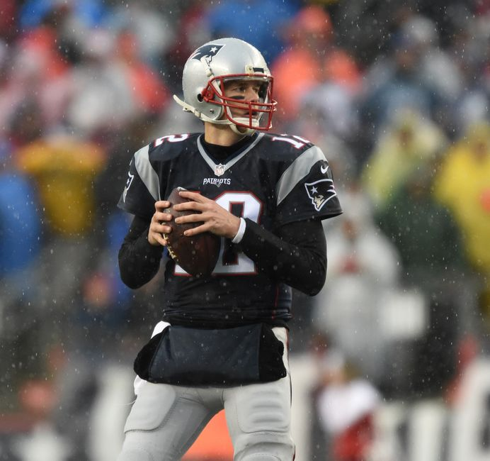 Dec 24, 2016; Foxborough, MA, USA;  New England Patriots quarterback Tom Brady (12) looks for a receiver during the first half against the New York Jets at Gillette Stadium. Mandatory Credit: Bob DeChiara-USA TODAY Sports