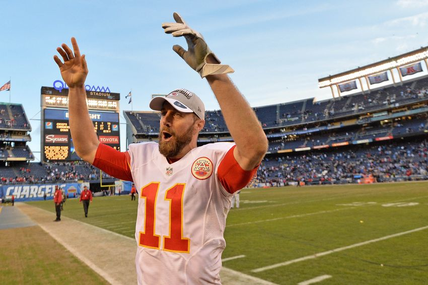 Jan 1, 2017; San Diego, CA, USA; Kansas City Chiefs quarterback Alex Smith (11) celebrates after a 37-27 win over the San Diego Chargers at Qualcomm Stadium. Mandatory Credit: Jake Roth-USA TODAY Sports