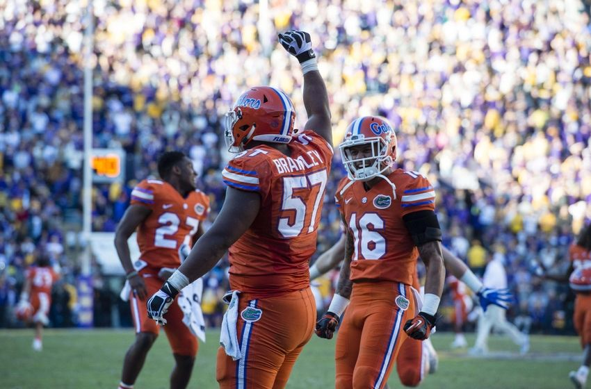 Nov 19, 2016; Baton Rouge, LA, USA; Florida Gators defensive lineman Caleb Brantley (57) celebrates after a stop during the second half against the LSU Tigers at Tiger Stadium. The Gators defeat the Tigers 16-10. Mandatory Credit: Jerome Miron-USA TODAY Sports