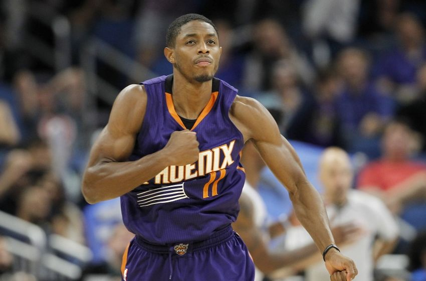Nov 23, 2016; Orlando, FL, USA;  Phoenix Suns guard Brandon Knight (11) pounds his chest after hitting a 3 point shot during the second  half of an NBA basketball game against the Orlando Magic at Amway Center. The Suns won 92-87. Mandatory Credit: Reinhold Matay-USA TODAY Sports
