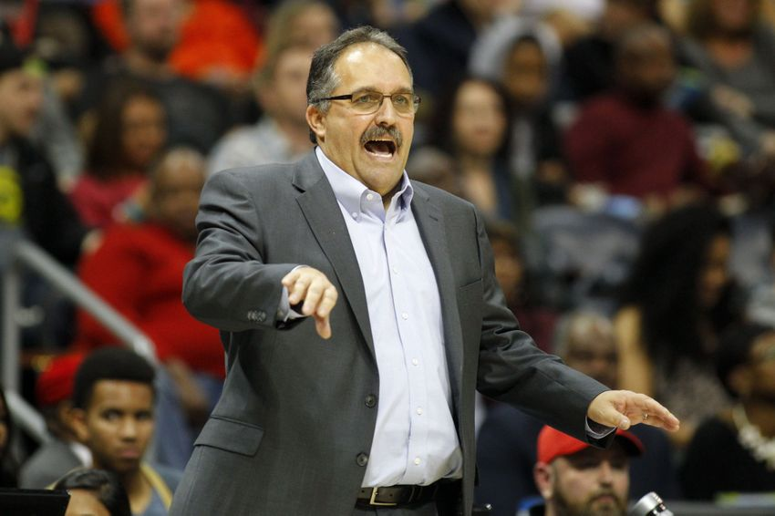 Dec 30, 2016; Atlanta, GA, USA; Detroit Pistons head coach Stan Van Gundy coaches against the Atlanta Hawks in the fourth quarter at Philips Arena. The Hawks won 105-98. Mandatory Credit: Brett Davis-USA TODAY Sports