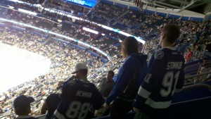 "Lightning ""fans"" leave a game vs Toronto early because they lost. Photo taken by: Dolly Reynolds"