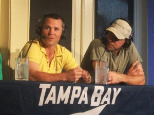 Marty St. Louis & Dwayne Roloson at the Chili's radio show, taken by Dolly Reynolds-Dolce
