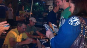 Marty St. Louis & Dwayne Roloson sign autographs after the Chili's radio show, taken by Dolly Reynolds-Dolce