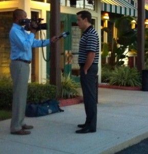Coach Boucher being interviewed by News Channel 8 WFLA Photo Taken By: Cynthia Thompson