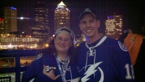 Dolly Reynolds-Dolce & James Courteau at a Lightning game 2011