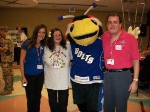 Brittany Zion (Lightning), Dolly Dolce (American Legion Auxiliary and Our Stand For Freedom), Thunderbug, and George (Bayshore Patriots) Working For Operation Helping Hand, Serving Veterans At The James A. Haley Veteran's Hospital