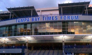Tampa Bay Times Forum just as the sun sets on Game Night. Credit: Tasha Meares