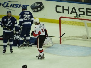 Ben Bishop lies of the ground after making a flying save against the Ottawa Senators. Photo taken by: Dolly Dolce