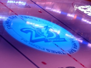 The Tampa Bay Lightning's 20th Anniversary logo hilighted on center ice. Taken by: Joshua Reynolds