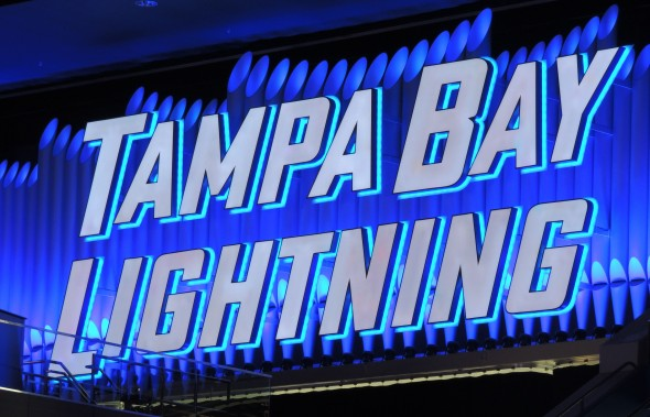 The Tampa Bay Lightning pipe organ all lit up during their game against the Philadelphia Flyers on January 27, 2013. Photo Credit: Tasha N. Meares