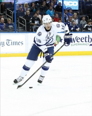 Apr 21, 2013; Tampa, FL, USA; Tampa Bay Lightning right wing Teddy Purcell (16) skates with the puck against the Carolina Hurricanes during the first period at the Tampa Bay Times Forum. Mandatory Credit: Kim Klement-USA TODAY Sports