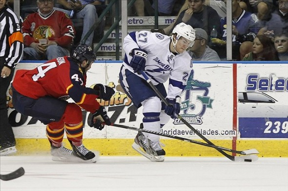 Sep 26, 2013; Estero, FL, USA; Tampa Bay Lightning left wing Jonathan Drouin (27) skates with the puck. Mandatory Credit: Kim Klement-USA TODAY Sports
