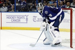 Oct 17, 2013; Tampa, FL, USA; Tampa Bay Lightning goalie Ben Bishop (30) against the Minnesota Wild during the third period at Tampa Bay Times Forum. Tampa Bay Lightning defeated the Minnesota Wild 3-1. Mandatory Credit: Kim Klement-USA TODAY Sports