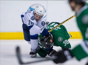 Tampa Bay Lightning right wing Martin St. Louis (26) and Dallas Stars center Vernon Fiddler (38) Mandatory Credit: Jerome Miron-USA TODAY Sports