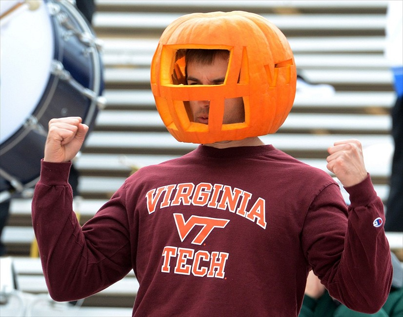 Oct 29, 2011; Durham, NC, USA; Virginia Tech Hokies fan celebrates a first down in the game against the Duke Blue Devils at Wallace Wade Stadium. Mandatory Credit- Rob Kinnan-USA TODAY Sports